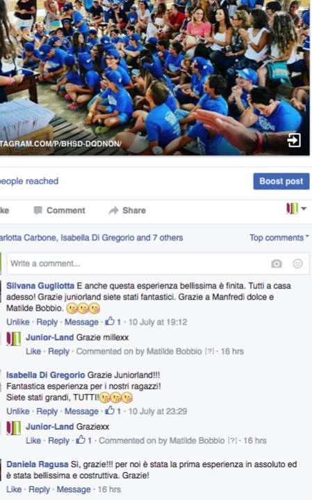 Campi estivi juniorland commenti partecipanti